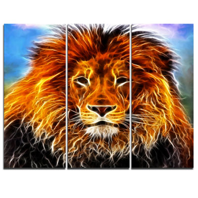 Designart Drawing Of The King Of Jungle Animal ArtCanvas Print - 3 Panels