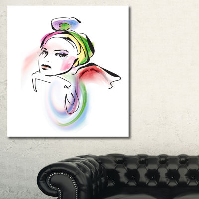 Designart Drawing Portrait Of Woman Abstract Canvas Art Print