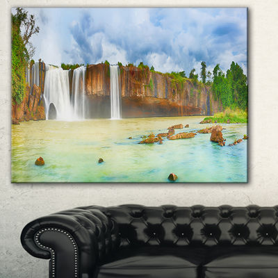 Designart Dry Nur Waterfall Panorama PhotographyCanvas Art Print - 3 Panels