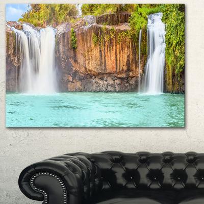 Designart Dry Sap Waterfall Photography Canvas ArtPrint - 3 Panels
