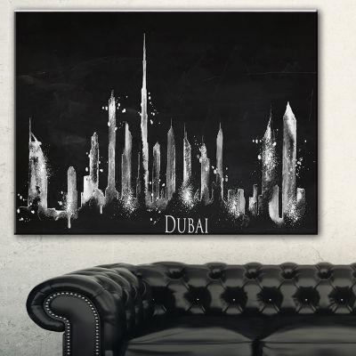 Designart Dubai Dark Silhouette Cityscape PaintingCanvas Print