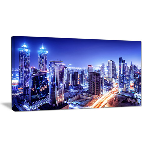 Designart Dubai Downtown Night Scene Cityscape Photography Canvas Print