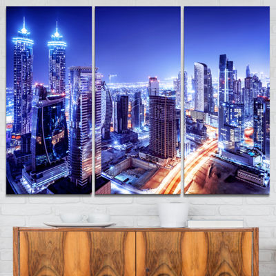 Designart Dubai Downtown Night Scene Cityscape Photography Canvas Print - 3 Panels