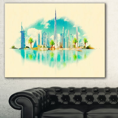 Designart Dubai Panoramic View Cityscape Watercolor Canvas Print