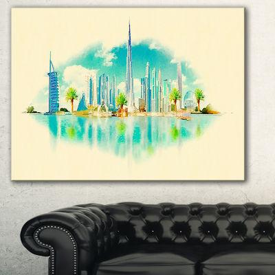 Designart Dubai Panoramic View Cityscape Watercolor Canvas Print - 3 Panels