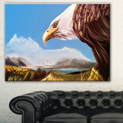Designart Eagle Flying In Sky Animal Canvas Art Print - 3 Panels