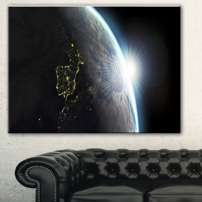 Designart Earth View With Day And Night Effect Abstract Print On Canvas - 3 Panels