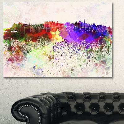 Designart Edinburgh Skyline Cityscape Canvas Artwork Print - 3 Panels