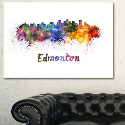 Designart Edmonton Skyline Cityscape Canvas Artwork Print - 3 Panels