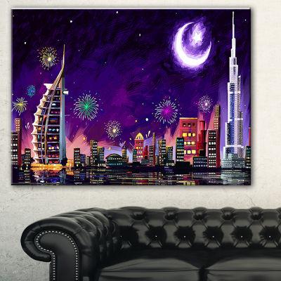Designart Eid Celebration In Dubai Cityscape Digital Canvas Print
