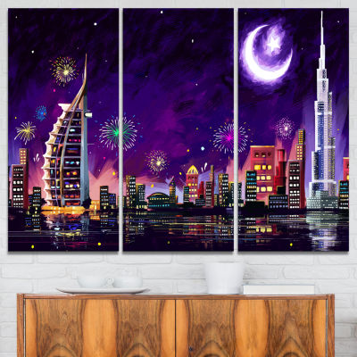 Designart Eid Celebration In Dubai Cityscape Digital Canvas Print - 3 Panels