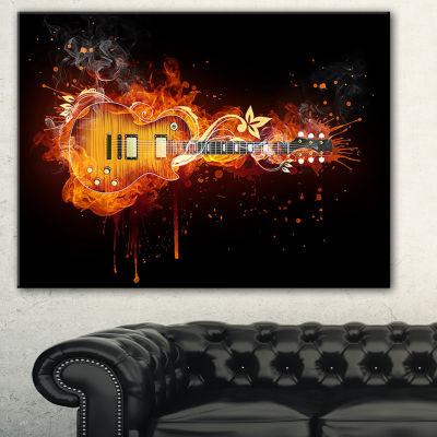 Designart Electric Guitar Abstract Canvas Art Print - 3 Panels