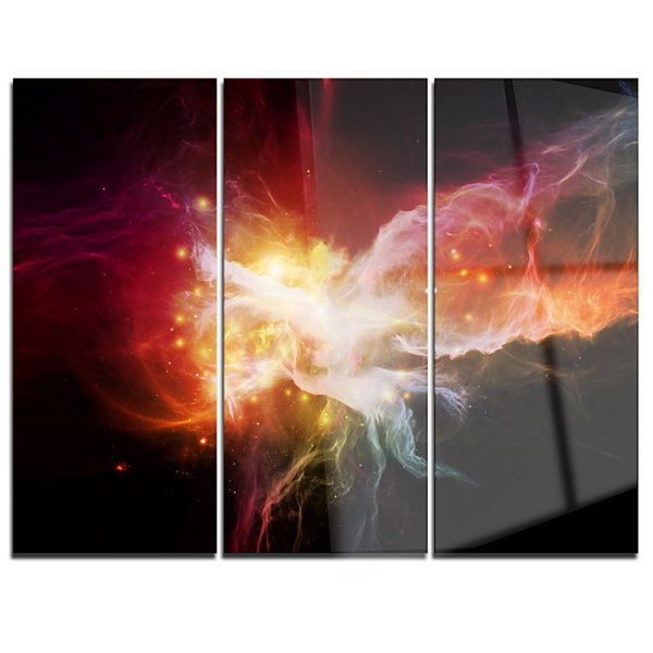 Designart Elegance Of Nebulae Abstract Canvas Artwork - 3 Panels