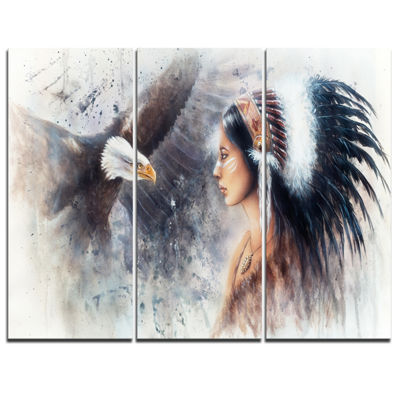 Designart Enchanting Mystical Priestess AbstractWoman Canvas Art Print - 3 Panels