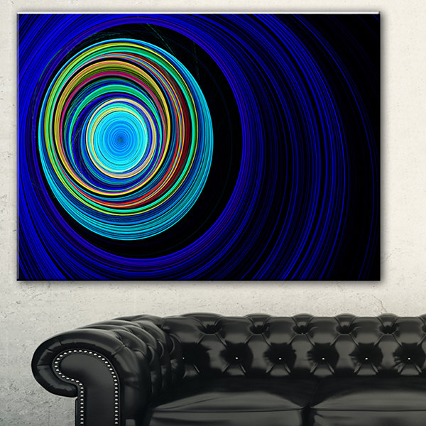 Designart Endless Tunnel Blue Ripples Abstract Canvas Art Print