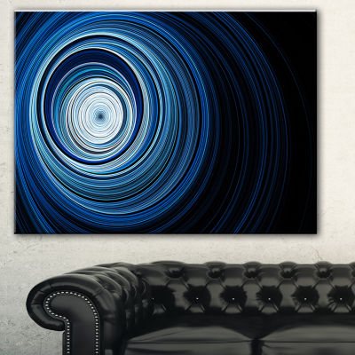 Designart Endless Tunnel Light Blue Ripples Abstract Canvas Art Print - 3 Panels