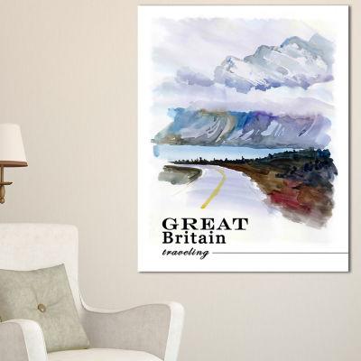 Designart England Cold Landscape Cityscape Painting Canvas Print