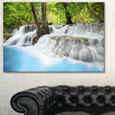 Designart Erawan Waterfall Green Large PhotographyCanvas Art Print - 3 Panels