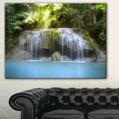 Designart Erawan Waterfall Green Photography Canvas Art Print