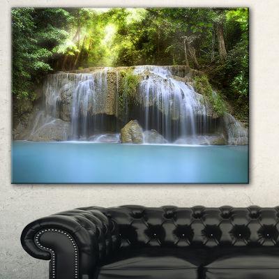 Designart Erawan Waterfall Green Photography Canvas Art Print - 3 Panels