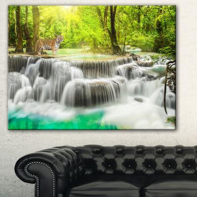 Designart Erawan Waterfall In Kanchanaburi Photography Canvas Art Print - 3 Panels