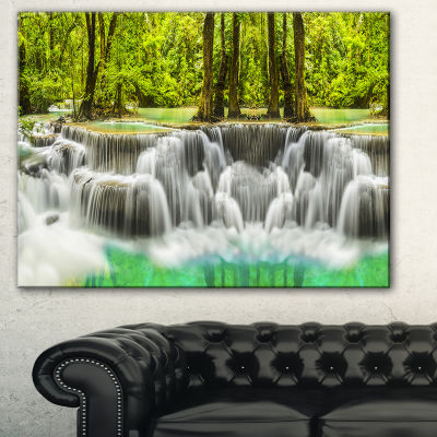 Designart Erawan Waterfall Kanchanaburi ProvinceCanvas Print - 3 Panels