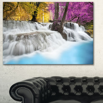 Designart Erawan Waterfall Landscape PhotographyCanvas Art Print - 3 Panels