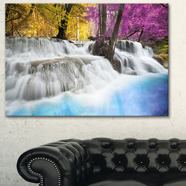 Designart Erawan Waterfall Large Landscape Photography Canvas Art Print