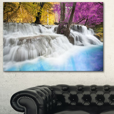 Designart Erawan Waterfall Large Landscape Photography Canvas Art Print - 3 Panels