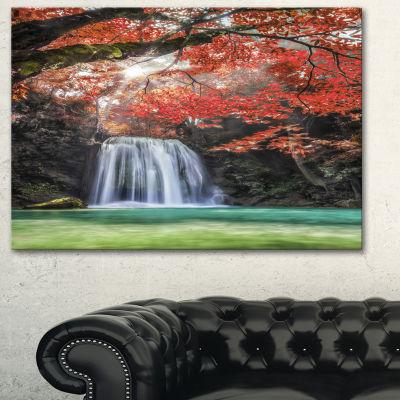 Designart Erawan Waterfall Red Photography CanvasArt Print - 3 Panels
