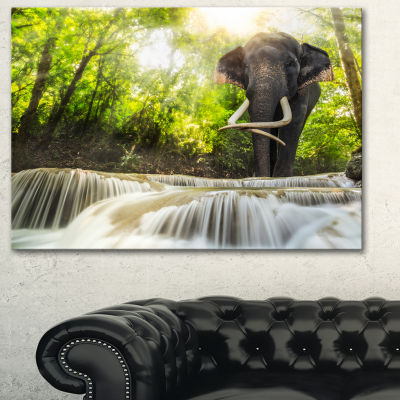 Designart Erawan Waterfall With Elephant Photography Canvas Art Print
