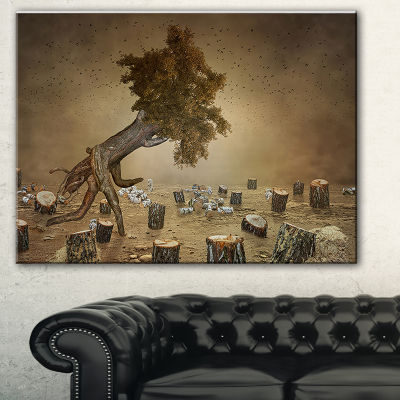 Designart Escape The Last Wood Abstract Print OnCanvas