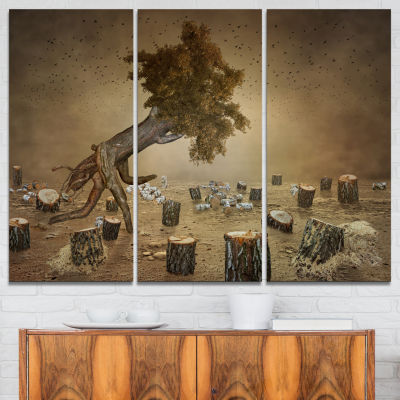 Designart Escape The Last Wood Abstract Print On Canvas - 3 Panels