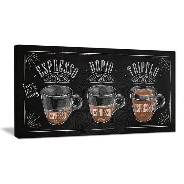 Designart Espresso Kraf Black Canvas Art Print