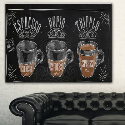 Designart Espresso Kraf Black Canvas Art Print - 3Panels