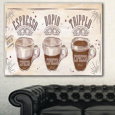 Designart Espresso Kraf Brown Canvas Art Print -3Panels