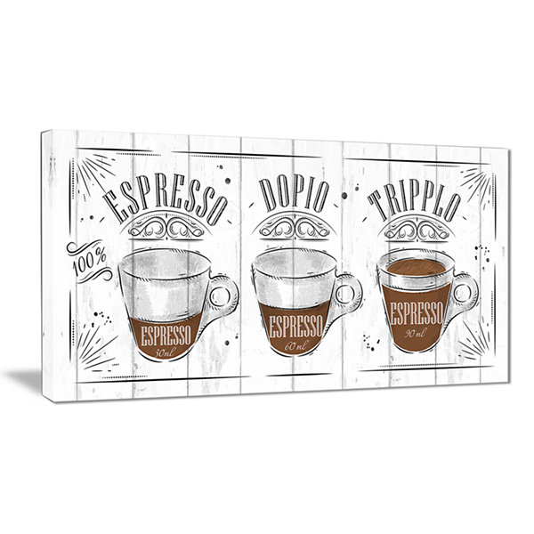 Designart Espresso Kraf Grey Canvas Art Print