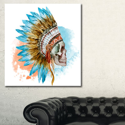 Designart Ethnic Skull Abstract Canvas Art Print-3Panels