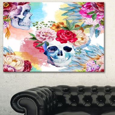 Designart Ethnic Skull With Flowers Floral Art Canvas Print