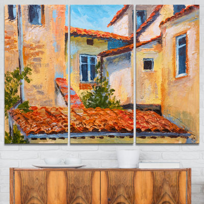 Designart European Rooftops Cityscape Canvas ArtPrint - 3 Panels