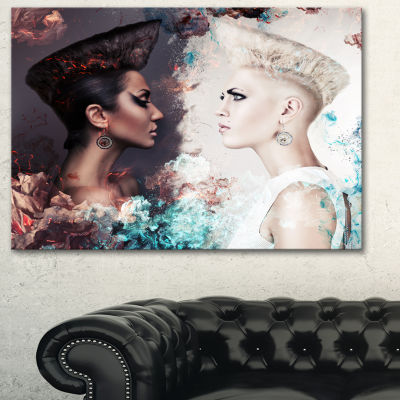 Designart Evil And Good Women Portrait Canvas ArtPrint