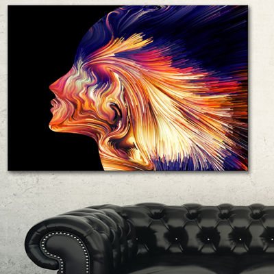 Designart Explosion Of Thought Abstract Canvas ArtPrint - 3 Panels