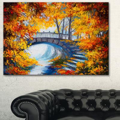 Designart Fall Forest With A Bridge Landscape ArtPrint Canvas - 3 Panels