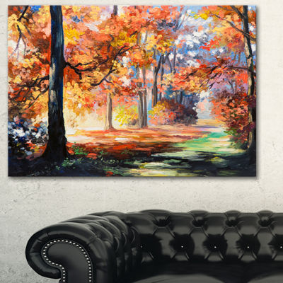 Designart Fall Trail In Forest Landscape Art PrintCanvas - 3 Panels