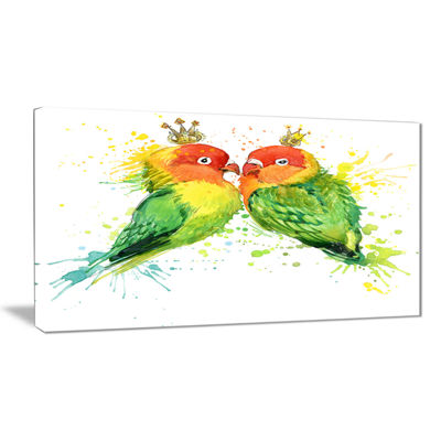 Designart Family Parrots Watercolor Animal CanvasArt Print