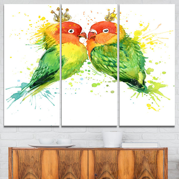 Designart Family Parrots Watercolor Animal CanvasArt Print - 3 Panels