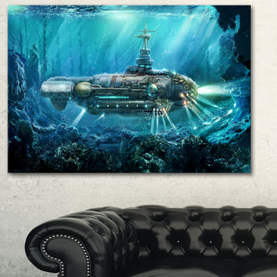 Designart Fantastic Submarine Abstract Canvas ArtPrint