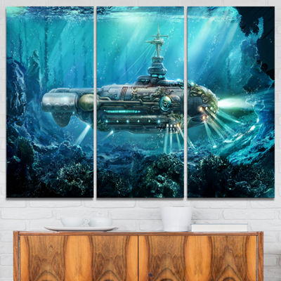 Designart Fantastic Submarine Abstract Canvas ArtPrint - 3 Panels