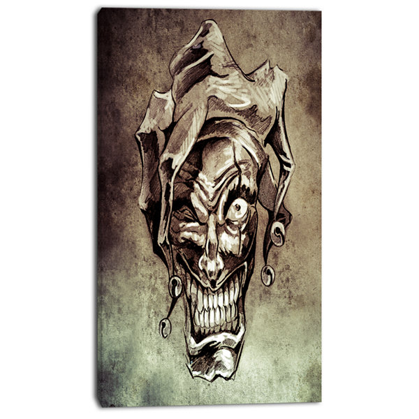 Designart Fantasy Clown Joker Tattoo Sketch Abstract Print On Canvas