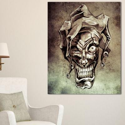 Designart Fantasy Clown Joker Tattoo Sketch Abstract Print On Canvas - 3 Panels